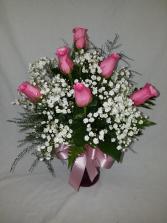 6 pink roses Rose Arrangement