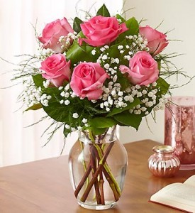 6 Pink Roses with Baby's Breath Other colors available!