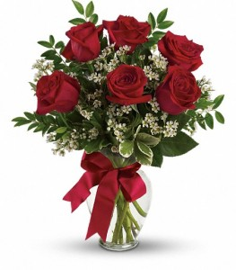 6 Red Roses Arranged  TEV12-6B in Hesperia, CA | ACACIA'S COUNTRY FLORIST