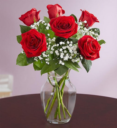6 Red Roses Arranged Vase Arrangement