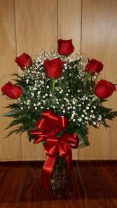 Six Red Roses & Babies Breath Vase Arrangement