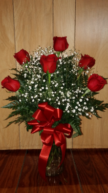 Six Red Roses & Babies Breath Vase Arrangement