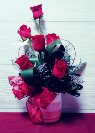 6 Red Roses in Ceramic Bowl