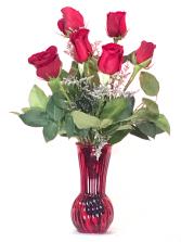 6 red roses red vase