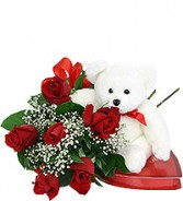 6 Red Roses w/ Valentine Bear and Chocolates Products may vary