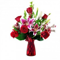 6 Rose Premium Vase  Half Dozen Red Roses with Stargazer Lillies