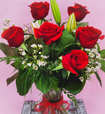 6 Rose Premium w/ Stargazer Lilies Rose Vase