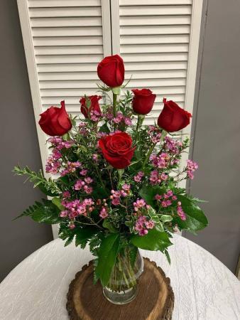 6 Rose Vase Arrangement Vase Arrangement