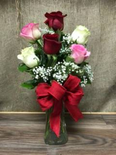 6 roses in a vase any color specify pink, purple, white, yellow or red