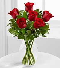 6 Roses Vased Vase Arrangment