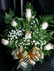 6 WHITE GLITTER ROSES FLOWERS