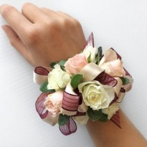 #4 White Maroon Corsage Prom Corsage