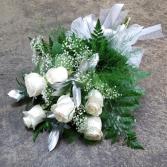 6 White Roses  Graduation