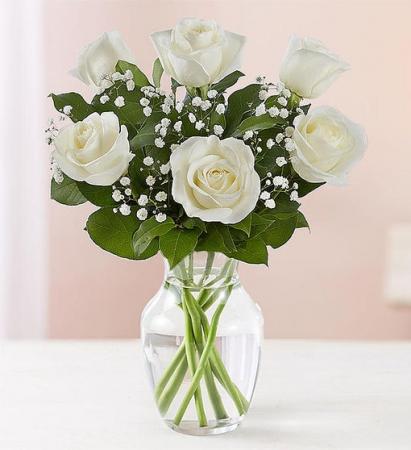 6 White Roses Vase Arrangement