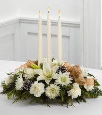 Ivory & gold holiday centerpiece