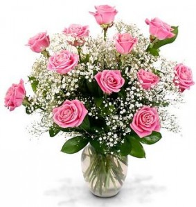 12 Pink Roses with baby's breath arranged in a  vase! ( WAX FLOWER MAY BE SUBSITUTED)