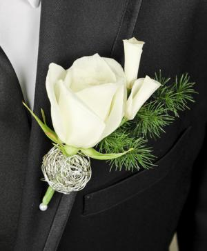 SPARKLY WHITE Prom Boutonniere in Riverside, CA | Willow Branch Florist of Riverside