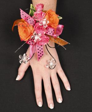 HOT PINK & ORANGE Prom Corsage in Ozone Park, NY | Heavenly Florist