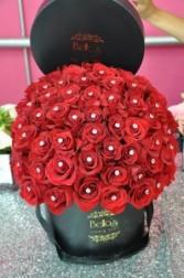 75 Diamond Roses In Black Hat Box