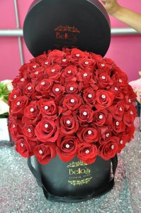 75 Diamond Roses In Black Hat Box