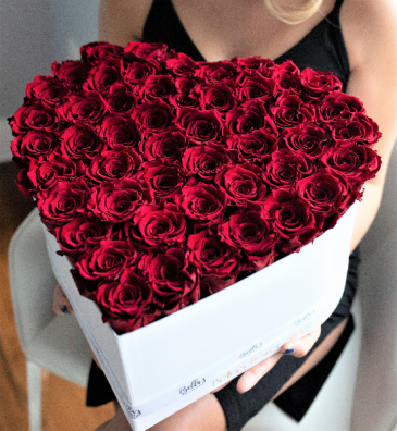 75 Fresh Roses In a Heart Box