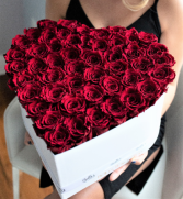 75 Fresh Roses In Heart Box