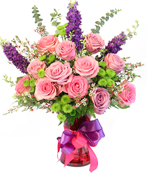 Young Love Vase Arrangement  in Baton Rouge, LA | TREY MARINO'S CENTRAL FLORIST & GIFTS