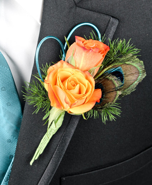 Flirtatious Feathers Prom Boutonniere in Richland, WA | ARLENE'S FLOWERS AND GIFTS