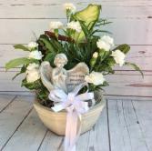"8"" Ceramic Dish Garden with Flowers & Angel Dish Gardens"
