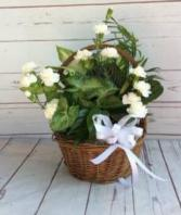 "8"" Wicker W/ Bow & Flowers"