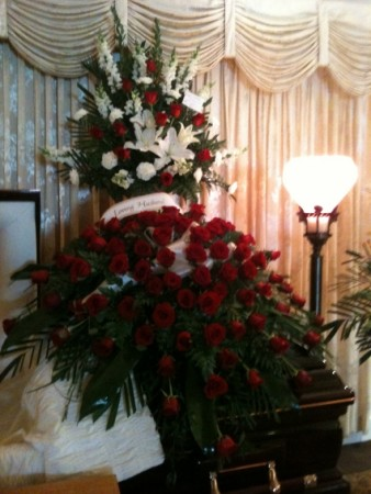 80 Red Roses Casket Spray