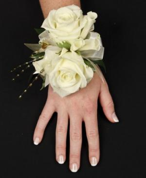 WHITE ROSE GLITTER Prom Corsage in Merced, CA | The Flower Shop