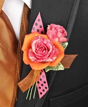 HOT PINK & ORANGE Prom Boutonniere in Pottstown, PA | NORTH END FLORIST