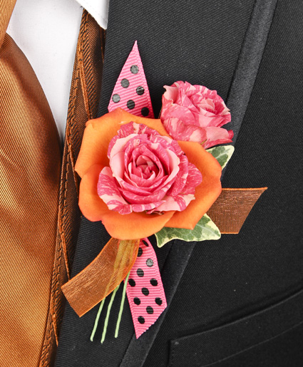 Hot pink orange prom boutonniere in saint albans wv flowers on hot pink orange prom boutonniere mightylinksfo