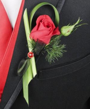 PUTTING ON THE RITZ RED Prom Boutonniere in Abbotsford, BC | BUCKETS FRESH FLOWER MARKET