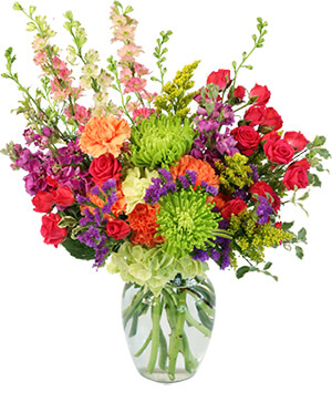 Colorful Blooms Flower Arrangement in Roscommon, MI | White Pine & Petals f/k/a Bloomers Flower Shoppe