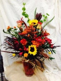 Slendor of Autumn Large Vased bouquet of Fall Blooms