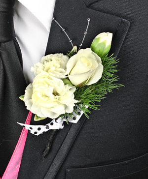 WHITE DELIGHT Prom Boutonniere in Port Dover, ON | Upsy Daisy Floral Studio