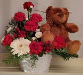 8FR000077 Beary Berry Christmas Basket Arrangement