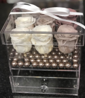 9 Preserved Roses in Acrylic box with drawer