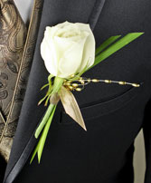 WHITE ROSE GLITTER Prom Boutonniere