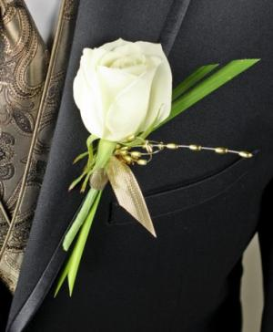 WHITE ROSE GLITTER Prom Boutonniere in Riverside, CA | Willow Branch Florist of Riverside