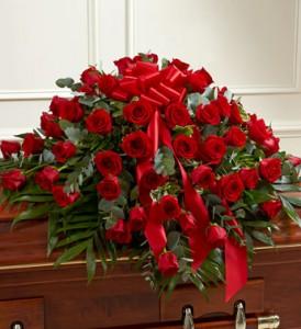 Red Rose Half Casket Cover Casket flowers