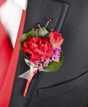 CRIMSON CARNATION Prom Boutonniere in Richland, WA | ARLENE'S FLOWERS AND GIFTS