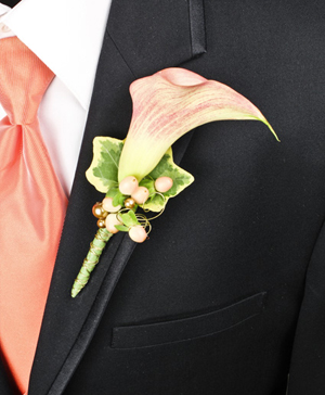 ELEGANT APRICOT CALLA Prom Boutonniere in Dallas, TX | Paula's Everyday Petals & More