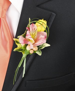 PASTEL POTPOURRI Prom Boutonniere in Lynchburg, VA | ANGELIC HAVEN FLORAL & GIFTS