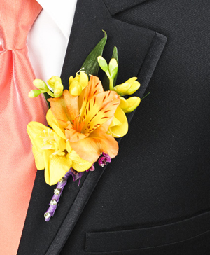 SPRINGTIME SUNSET Prom Boutonniere in Dallas, TX | Paula's Everyday Petals & More