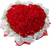 99 Red Roses with baby's breath in bouquet