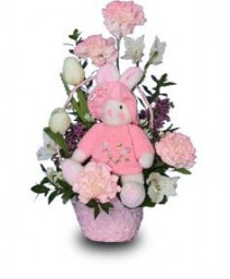 BABY PINK BASKET Flowers for New Baby