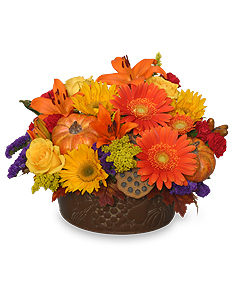 Pumpkin Gathering Autumn Arrangement in Castleton On Hudson, NY | BOUNTIFUL BLOOMS FLORIST